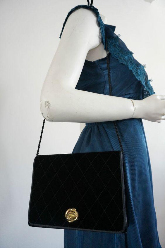 SAC bag POchette VINTAGE  retro MINAUDIERE epaule Noir chic VTG prePPy VELOURS