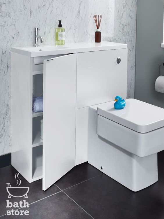 The White Gloss Myplan Mini Unit Is Ideal For Small Bathrooms Particularly Under Stairs Cloakrooms Designed Specifically For Toilet Bathroom Design Bathroom