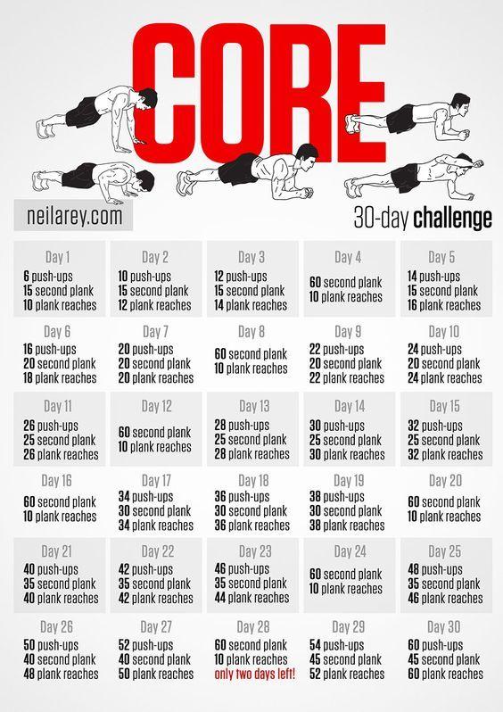 Core 30-Day Challenge Workout u2026 Pinteresu2026 - fitness plan template