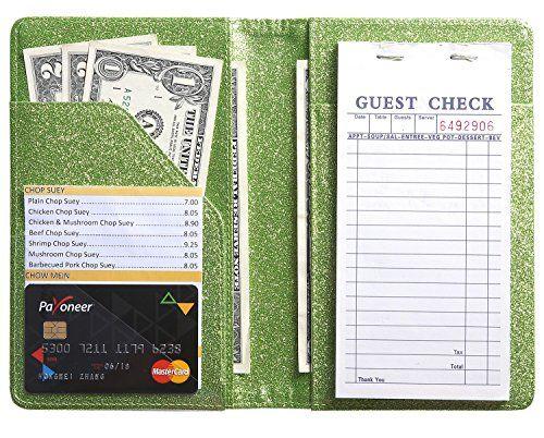 Server Book for Waitress Waiter Book Waitstaff Organizer Fit Glitter Green