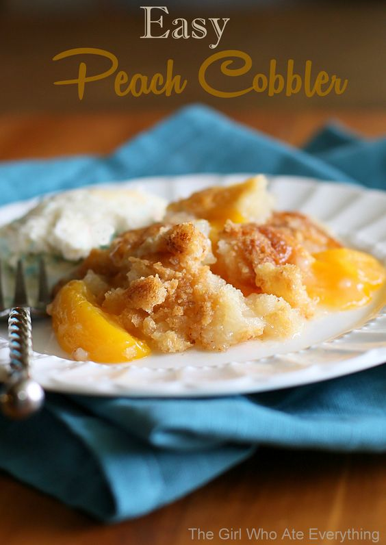 Easy Peach Cobbler. So delicious and only four ingredients needed to make it! (no cake mix)  {The Girl Who Ate Everything}
