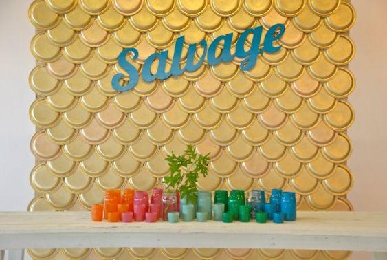 backdrop: gold spraypainted paper plates!  {Blue Eyed Yonder} + DIY colored mason jars (tutorial)