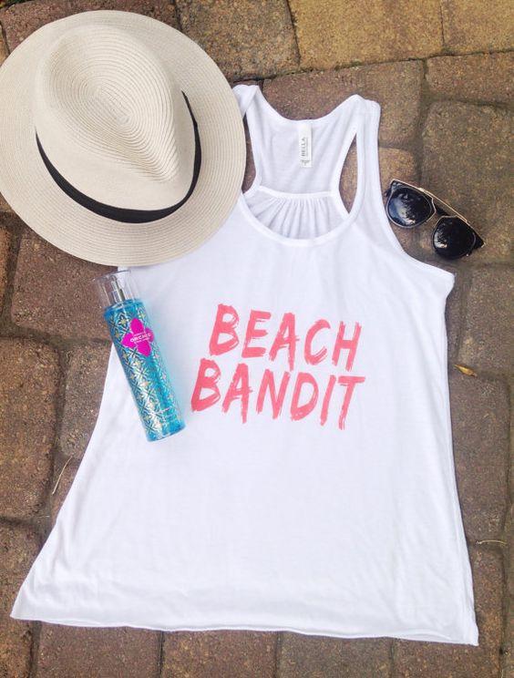 Beach Bandit Women's Flowy Racerback Neon Coral by FreshBatchDes