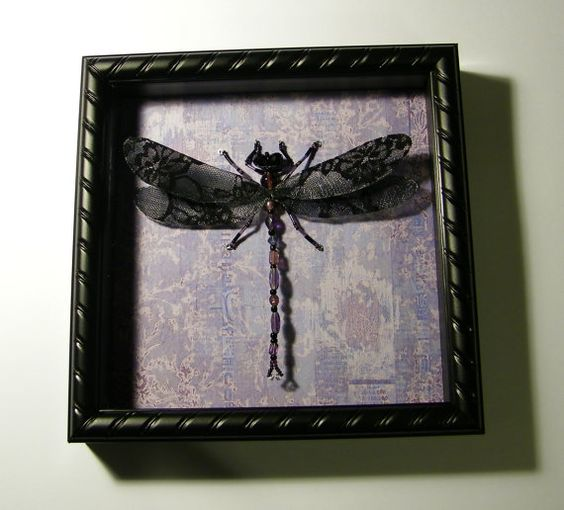 Beaded Dragonfly Shadowbox Purple Black Lace by AuroraRosealis, $45.00