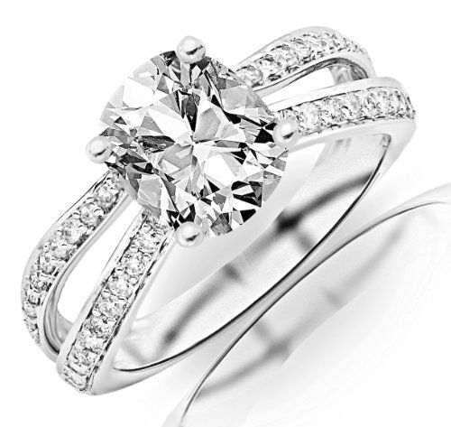 1.41 Carat GIA Certified Cushion Cut / Shape Contemporary Double Row Split Shank Engagement Ring ( F Color , VS2... $5,100.00