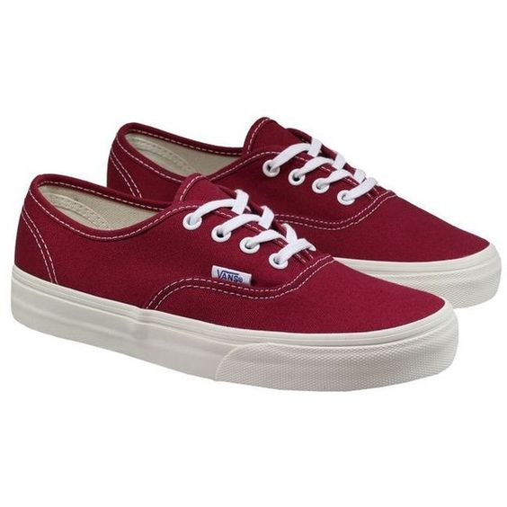 Vans Trainers Womens Authentic Burgundy Cream ($59) ❤ liked on Polyvore featuring shoes, sneakers, vans, cream shoes, vans trainers, vans sneakers, vans footwear and canvas shoes