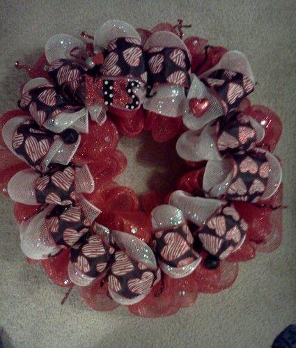 Valentine's Valentines Day Deco Mesh Wreath | eBay