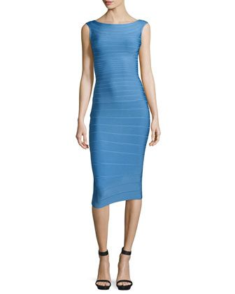 Sleeveless Bateau-Neck Bandage Dress, French Blue by Herve Leger at Neiman Marcus.