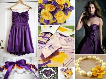 A Laker Themed Wedding? YES PLEASE!!! lol  Photo courtesy: http://wedding-pictures.onewed.com/edgy/files/imagecache/576w/images/1042920/chic-la-lakers-inspired-wedding-purple-bubble-dress-for-bridemaids-purple-gold-bridal-garter-accessories.jpg