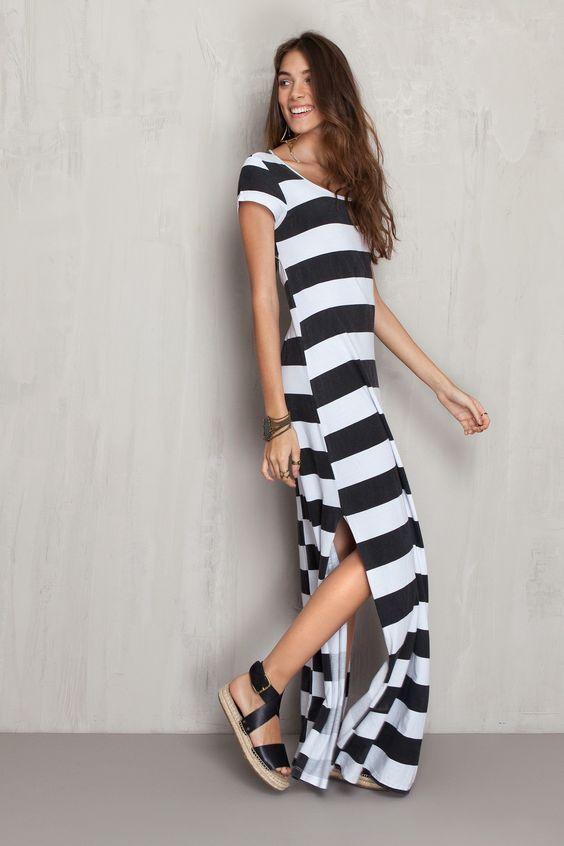 Vestido longo listrado | Dress to: