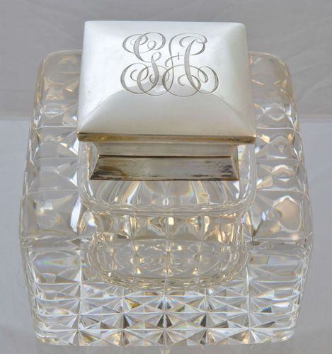 TDF ~ antique sterling and cut glass inkwell--london,1904