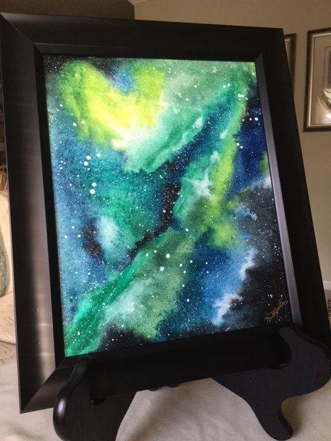 Aquarelle Sur Papier Bleu Noir Vert Et Jaune Galaxy Espace