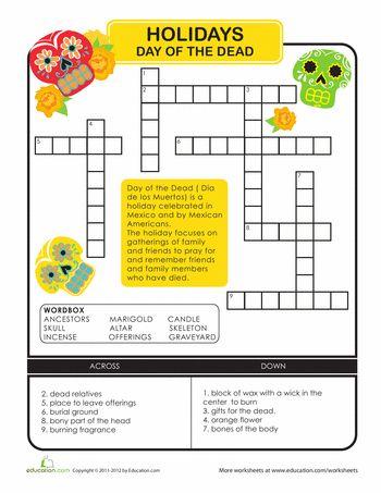 Printables Dia De Los Muertos Worksheets day of the dead crossword ojays and worksheets crossword