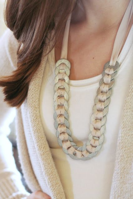 DIY necklace with washers and ribbon.