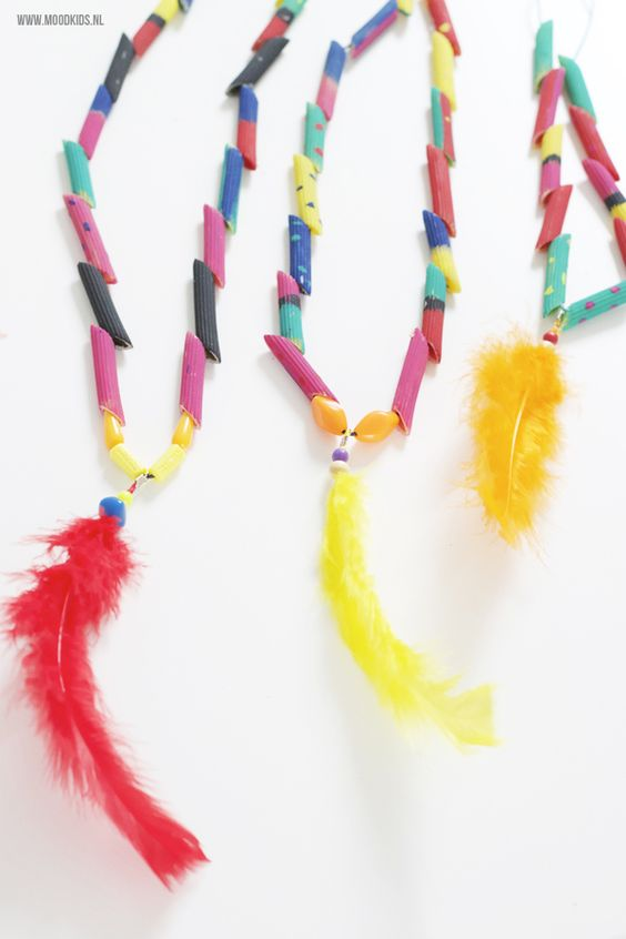 Feather Pasta Necklace Craft Via Mood Kids Operation