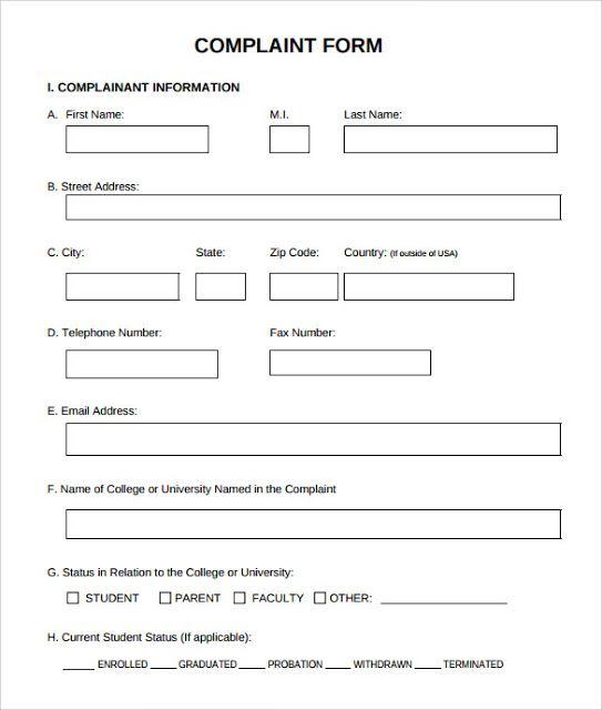 Patient Complaint Investigation Form Template Patient Grievance