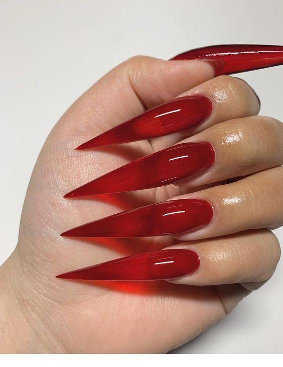 Very Long Red Nails Long Red Nails Diy Acrylic Nails Long