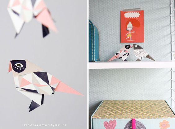 #Origami #vogel en #vos als accessoire | Djello via Kinderkamerstylist