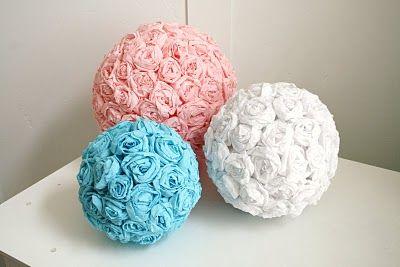 tissue paper flower balls! easy centerpiece ideas?