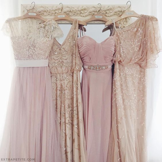 From our wedding: mix and match bridesmaid dresses in tulle, beading, blush pink and champagne. Tied everything together with a common color theme. Click the image for all dress details!