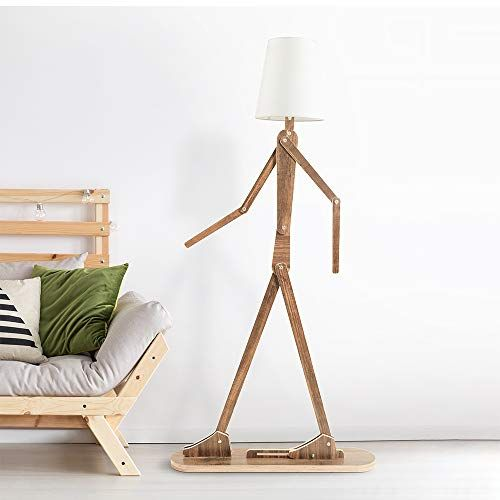 Hroome Modern Contemporary Decorative Wooden Floor Lamp Light With Fold White Fabric Shade Adjustable Height Standing Light For Living Room Bedroom Office 160cm In 2020 Living Room Decor Furniture Wooden Floor