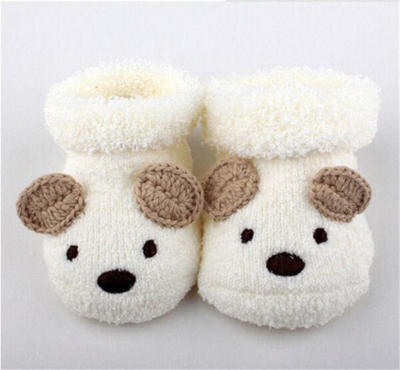 Vente chaude livraison gratuite mignon bébé ours Slipper Socks manuel chaussures nouveau nés à 6 mês automne hiver infantile cadeau dans Chaussettes de Produits pour bébés sur AliExpress.com | Alibaba Group