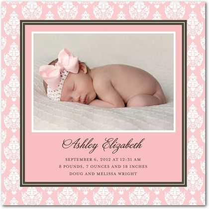 Girl Photo Birth Announcements Refined Damask - Front : Bloom