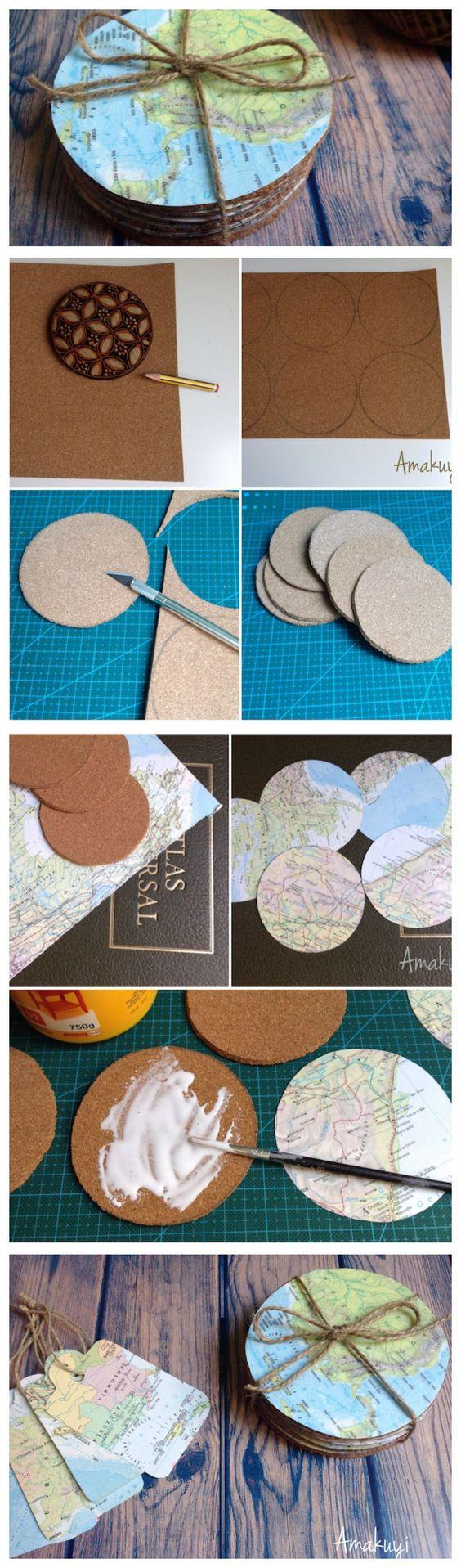 Posavasos con material de reciclaje. Una manualidad sencilla para reciclar mapas, o viejas revistas, periódicos...