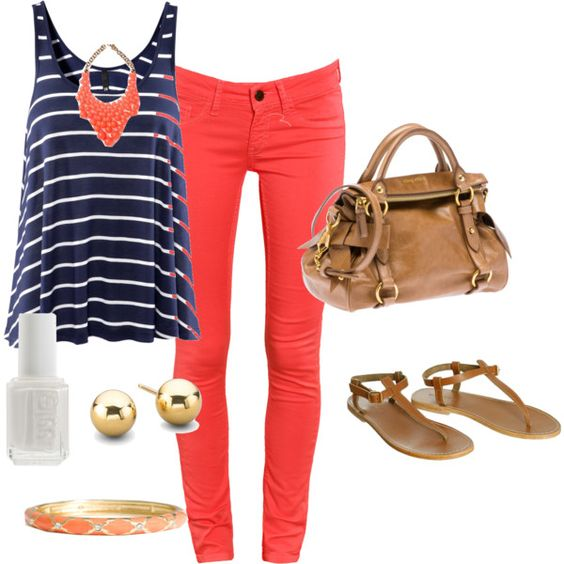 cute colored jeans and shirt together!