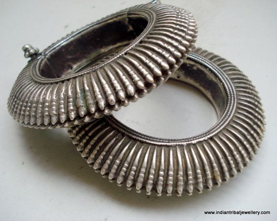 India   Vintage pair of old silver hinge bracelets from Rajasthan   Worn by the Rabari women