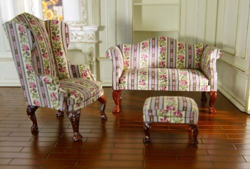 Dollhouse 1 12 Sofa Chair Ottoman Set Living Room Fabric Floral Pattern Wellmade Chair And Ottoman Set Dollhouse Living Room Living Room Sets