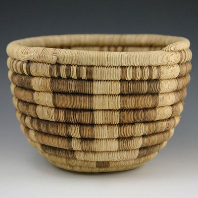 Hopi Native American  Indian Baskets,  - Hopi Coil Basket with Handles