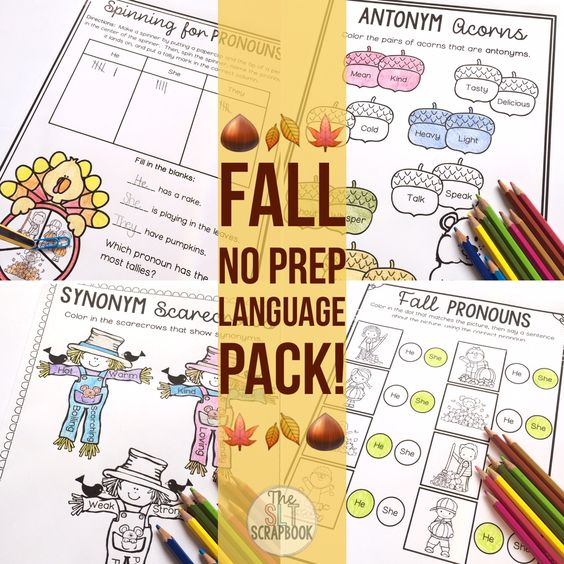 No Prep Fall themed language activities for Speech and Language Therapy sessions! Target a range of SLP goals- synonyms, antonyms, pronouns, prepositions, categories, wh-questions and more!