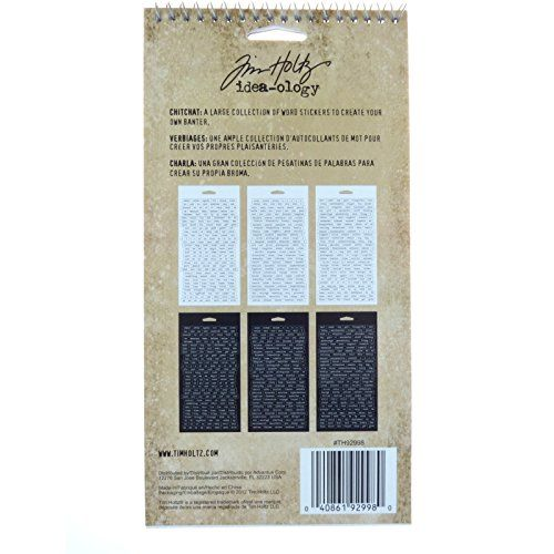 Chitchat Word Stickers by Tim Holtz Idea-ology Black and White Matte Cardstock,