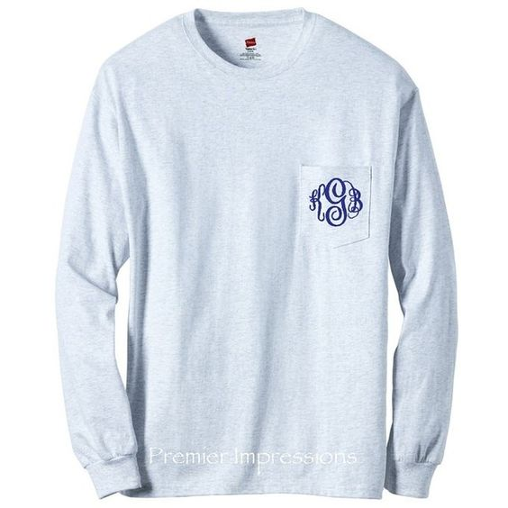 {Monogram} ❤ liked on Polyvore featuring tops, shirts, monogrammed shirts, shirt tops, blue shirt and blue top