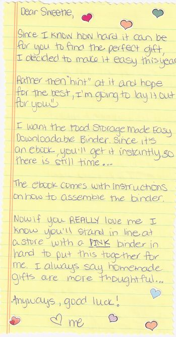 """""""Helpful Hint"""" for your husband's this Mother's Day ;)  The binder eBook can be purchased at this link:  http://foodstoragemadeeasy.net/products-we-recommend/binder"""