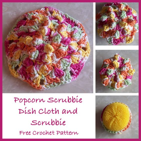 Knit Popcorn Stitch In The Round : Free crochet pattern for a popcorn stitch scrubbie and scrubbie dish cloth. ...
