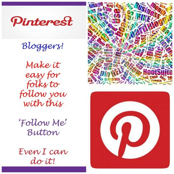 Do you have a blog with Blogger? Make it easy to for your readers to follow you on Pinterest with this 'Follow Me' Button