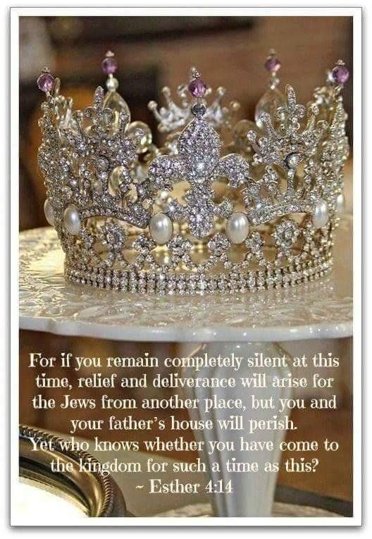 Esther 4:14 KJV. For if thou altogether holdest thy peace at this time, then shall there  enlargement and de… | Gods princess, Bride of christ, Daughters of the king
