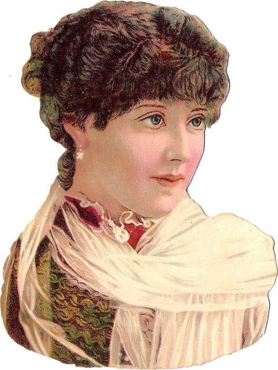 Oblaten Glanzbild scrap diecut chromo Dame  13,3cm lady Frau Kopf Porträt: