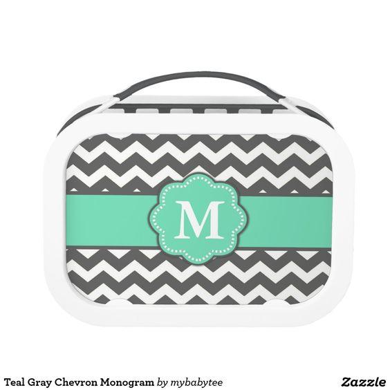 Teal Gray Chevron Monogram Yubo Lunchbox