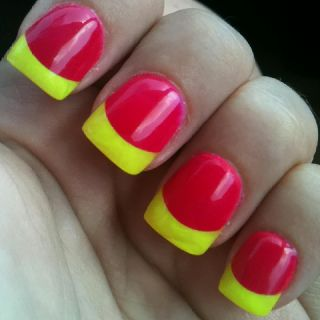 Pink and yellow powdered nails!