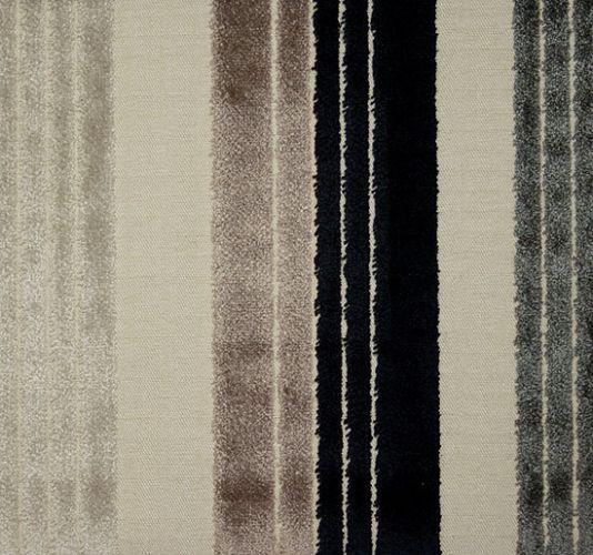 Amaya Velvet Stripe Velvet stripe in black,taupe and cream on a cream cloth