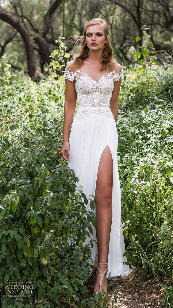 limor rosen 2017 bridal off the shoulder sweetheart neckline lace heavily embellished bodice skirt side split sexy elegant a  line wedding dress scoop back long train (iris) mv: