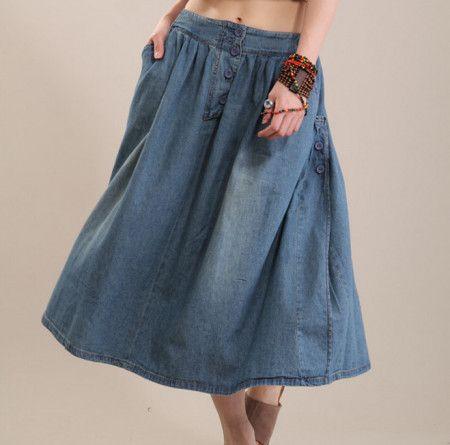 saias jeans longas
