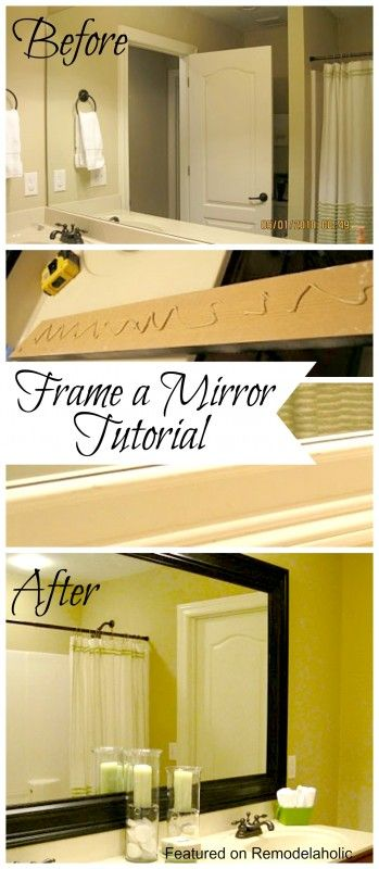 DIY Bathroom Mirror Frame Tutorial #diy #bathroom