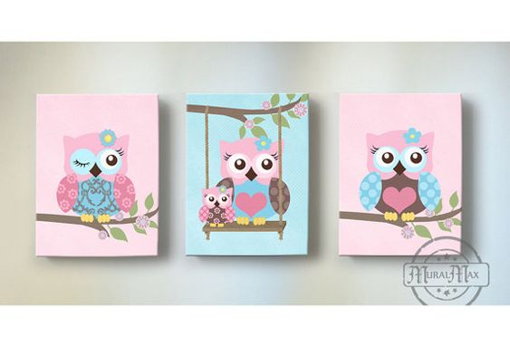 Girl Room Decor - OWL canvas art, Baby Nursery  Owl Canvas Set, Owl Canvas Print for nursery match with Brooklyn Crib Bedding
