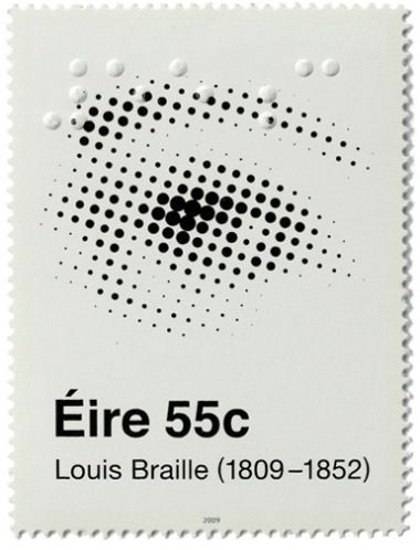 Making use of both Ben-Day dots and the tactile dots of braille, an amazing–and amazingly subtle–postage stamp issued by Ireland in 2009, commemorating the 200th birthday of Louis Braille.