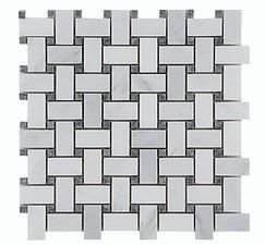 Carrara (Carrera) White Gray Dot Basketweave Natural Stone Mosaic