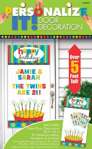 Birthday Dots and Stripes Personalized Door #Decoration #Party Themes $12.79 only
